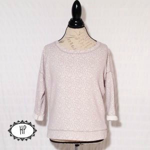 Anthropologie Lilka Sweatshirt Top taupe white